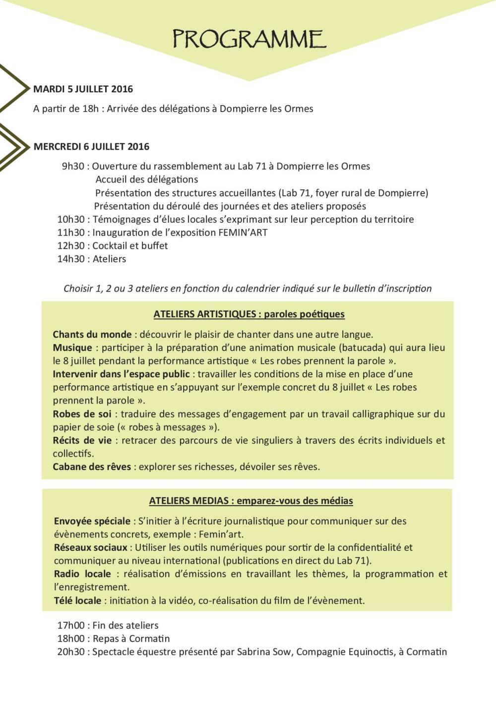 Programme FEMIN'ART3